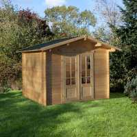 2.2x2.2m (7ftx7ft) Forest Auvergne (Bradnor) 28mm Shingle Roof Log Cabin Shed