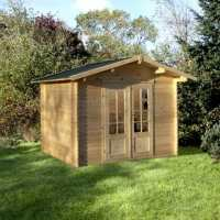 3x2.5m (10'x8') Forest Auvergne (Bradnor) 28mm Shingle Roof Log Cabin Shed