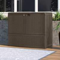 Suncast Vertical Deck Box with Shelf - Plastic Garden Storage