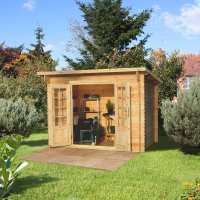 3x2m (10ftx7ft) Forest Provence (Harwood) 28mm Shingle Roof Log Cabin Shed