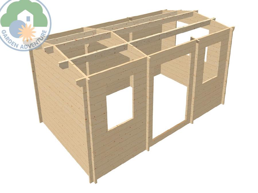 Camborne 5x3 Log Cabin 3d