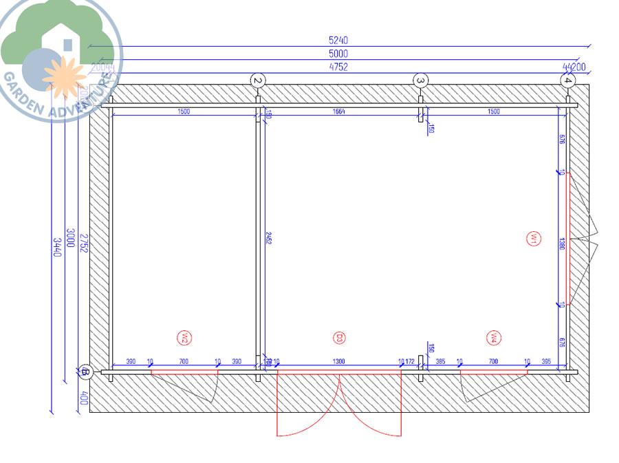 Camborne 5x3 Log Cabin Plan