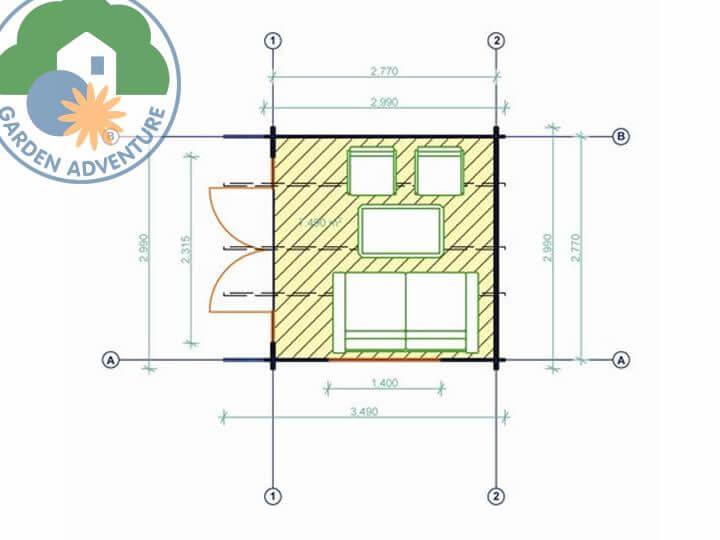 Clovelly 3x3 Log Cabin Plan
