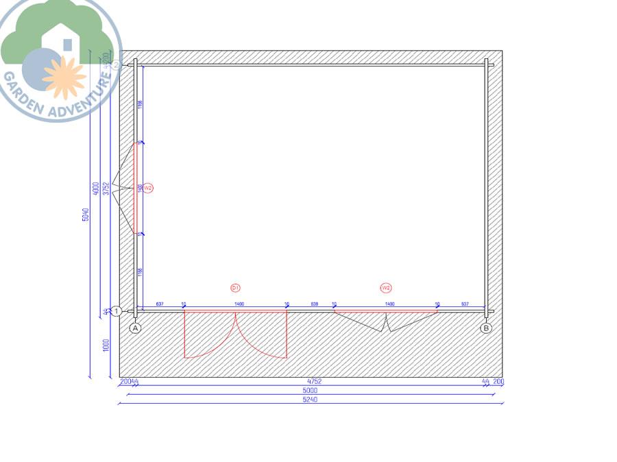 Liverpool 5x4 Log Cabin Plan