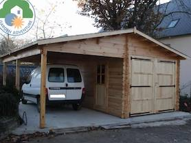 Carport with Log Cabin